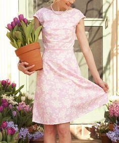 Pink & White Daisy A-Line Dress