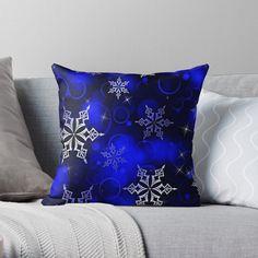 """Royal Blue Snowflake Motif"" Throw Pillow by HavenDesign | Redbubble Sofa Pillows, Throw Pillows, Snowflake Pillow, Christmas Items, Christmas Decor, Holiday Boutique, Pillow Arrangement, Pillow Room, Cotton Pillow"