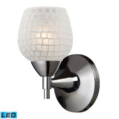 Celina 1 Light LED Sconce In Polished Chrome And White 10150/1PC-WHT-LED