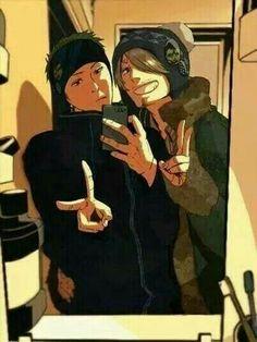 Zoro, Sanji, cellphone, selfie, funny, mirror, outfits; One Piece
