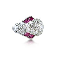 Art Deco diamond and ruby cocktail ring, the pavé-set diamond bombé mount enhanced by an arrowhead of four calibré-cut rubies and three pear-shaped diamonds. Contemporary Jewellery, Modern Jewelry, Antique Jewelry, Vintage Jewelry, Titanic Jewelry, Pear Shaped Diamond, Art Deco Diamond, Cocktail Rings, Jewels