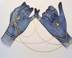 ideas tattoo moon and sun hands for 2019 Art Inspo, Kunst Inspo, Inspiration Art, Art And Illustration, Illustrations, Anime Hand, Arte Obscura, Art Design, Moon Design