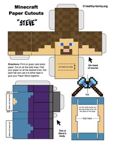 Download and print a free Steve Minecraft paper crafts template from Healthy Family.