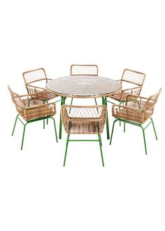 Lyra 6 Seater Dining Table, Green