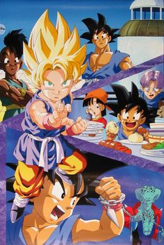 Goku, Pan, Trunks, Uub, and Ledgic