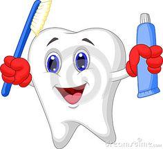 Personaje de historieta. Diente que sostiene el cepillo de dientes y la crema dental.