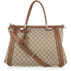 Gucci Bella monogram canvas tote ($1,790) ❤ liked on Polyvore featuring bags, handbags, tote bags, borse, gucci, purses, bolsas, women, handbags totes and monogram canvas tote