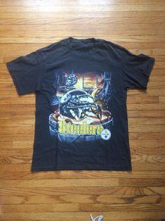 Vintage Pittsburgh Steelers Home Field Advantage Thrashed Up NFL Football T-Shirt by VintageVanShop on Etsy