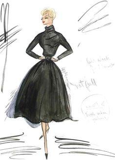 Edith Head sketch for Kim Novak in Vertigo (1958)