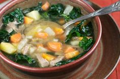 Chicken Soup with Rice and Kale #Recipe