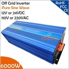 6000W Off Grid Inverter, 12V/24VDC 100/110/120VAC or 220/230/240VAC Pure Sine Wave PV Inverter Solar orWind Power Inverter