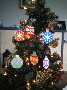Christmas Decoration Baubles Hama beads by CrackBrainCrafts