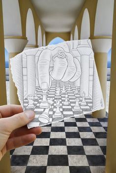 """Drawing Vs Photography"" or ""Imagination Vs Reality"" works by Ben Heine"