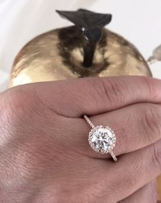 bar argent - 14K Rose Gold Halo Engagement Ring