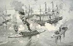 Surrender of the Confederate Ironclad Tennesee at the Battle of Mobile Bay (after) Davidson, Julian Oliver   Oil Painting Reproduction   1st...