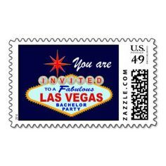 Las Vegas Bachelor Party Postage Stamp