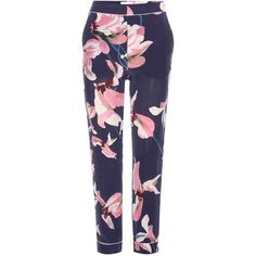 Erdem Giulia  Printed Silk Trousers (641.750 CLP) via Polyvore featuring pants, multicoloured, silk trousers, blue pants, erdem, navy silk pants y blue silk pants