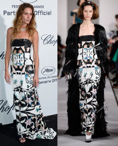 Erin Wasson lent a youthful edge to this multi-colour paillette and beaded column gown by Oscar de la Renta at the Soiree Chopard 'Mystery Party'.