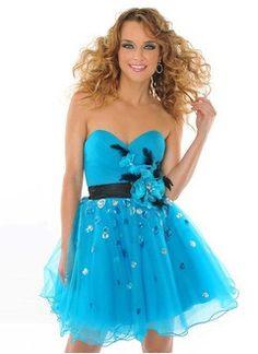 A-Line/Princess Sweetheart Short/Mini Tulle Charmeuse Homecoming Dress With Ruffle Sash Beading