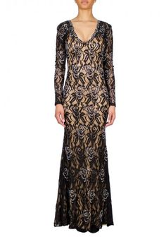 Jovani | 'Lace' Dress Black | Long sleeve Jovani lace embellished gown features a plunging neckline and a nude underlay.