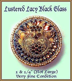 Image Copyright by RC Larner ~ Vintage Lustered Lacy Black Glass in Brass Button ~ R C Larner Buttons at eBay  http://stores.ebay.com/RC-LARNER-BUTTONS