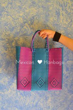 Woven Mexican handbags, mexican bags, market bags, beautiful bags, bolsas recicladas, bolsas mercado, bolsas de moda, blue and pink handbags