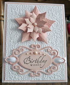 December birthday using Spellbinders Layered Poinsettia and Fancy Tags Two