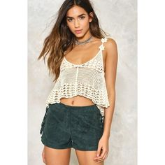 Nasty Gal Cut to the Chase Crochet Crop Top ($30) ❤ liked on Polyvore featuring tops, beige, oversized crop top, scoop neck top, crop top, beige crop top and spaghetti-strap tops