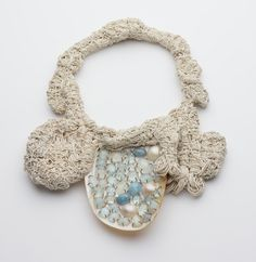 Iris Bodemer - Ingredients_Neckpiece 2008  Aquamarine, shell, linen, copper  22 x 29 x 3 cm_Archive No. 08-013