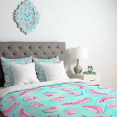 Lisa Argyropoulos Summertime In Aqua Duvet Cover | DENY Designs Home Accessories