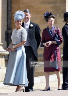 Sophie, Countess of Wessex and  Princess Anne, Princess Royal (R) arrive at the wedding of Prince Harry to Ms Meghan Markle at St George's Chapel, Windsor Castle on May 19, 2018 in Windsor, England. Prince Henry Charles Albert David of Wales marries Ms. Meghan Markle in a service at St George's Chapel inside the grounds of Windsor Castle. Among the guests were 2200 members of the public, the royal family and Ms. Markle's Mother Doria Ragland.  (Photo by Chris Jackson/Getty Images)