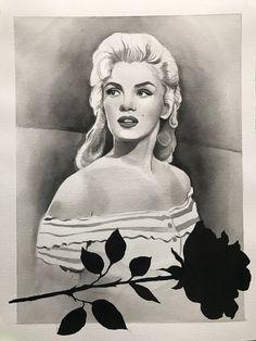 Marilyn Monroe Black Rose Painting by ArtSchoolAftermath on Etsy https://www.etsy.com/listing/585202215/marilyn-monroe-black-rose-painting