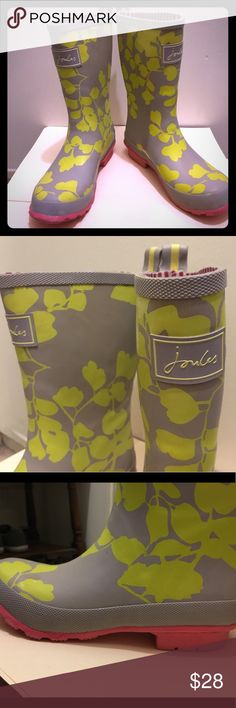 Joules Rain ☔️ Boots Delightful rubber boots for sale. Purchased at a second hand store new with tags! They are unfortunately just too small for me. I hope this pair can bring sunshine to someone on a rainy day . Big kids size 3 or women's 5.5 ( I wear a 6). Joules Shoes Winter & Rain Boots