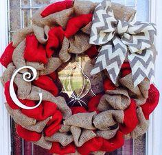 Holiday wreath Christmas wreath Burlap wreath by CandysDesignz