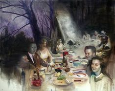 The Banquet - oil on canvas, x - The soft memory laden oil paintings of Joshua Flint Surrealist Collage, Blog Art, Jackson's Art, Colossal Art, Impressionist Paintings, Sculpture, Art Portfolio, Your Paintings, Beautiful Paintings