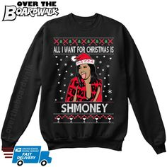 Christmas party All i Want for Christmas is Shmoney Youth ugly Christmas Sweater Holiday gift Kids Unisex Sweatshirt