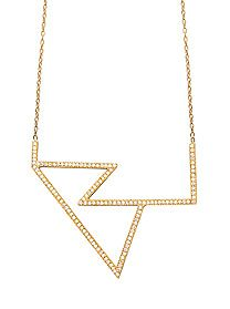 """ARCHITECTURAL NECKLACE W/   PAVE WHITE DIAMONDS ON A 13"""" CHAIN     By Jennifer Fisher"""