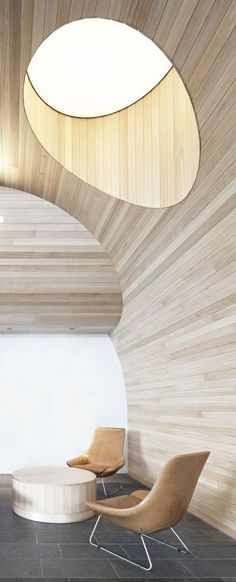 = wood panels and skylight