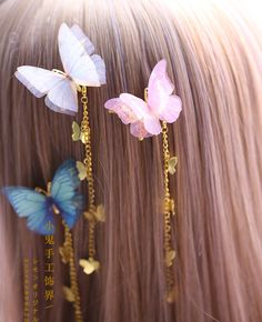 Buy Elfis Butterfly Hair Clip   YesStyle Clip Hairstyles, Kawaii Hairstyles, Butterfly Hair, Butterfly Jewelry, Kawaii Accessories, Hair Accessories, Cabello Hair, Magical Jewelry, Fantasy Jewelry