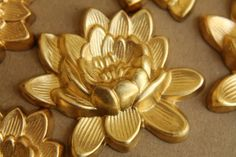 1 pc. Large Raw Brass Lotus Flower: 50mm by 43mm - made in USA - RB-193