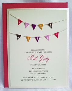 Bunting baby shower invitation - love the mini flags!  All handcut and assembled :)