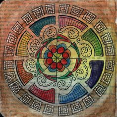 Circles: Drawing mandalas is a very centering and calming thing to do.  You just start in the middle of the page and work your way out and around, the possibilities are endless. [via AJ's Art Journaling]