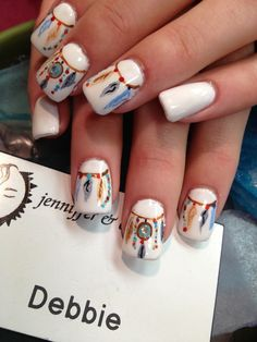 NATIVE AMERICAN NAILS | Native American feathers design