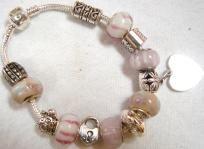 Slide Bracelet w Pale Pink Beads