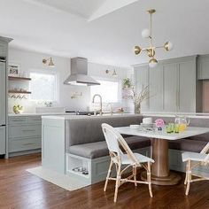 Kitchen Island with L Shaped Dining Banquette-  In love with this  design!