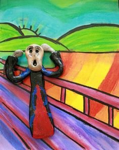 Check out student artwork posted to Artsonia from the Edward Munch 'The Scream' project gallery at Alum Creek Elementary School. Art Lessons For Kids, Art Activities For Kids, Art For Kids, Le Cri Edvard Munch, 6th Grade Art, Sixth Grade, Scream, Michael Art, School Art Projects