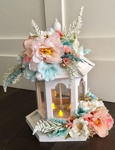 Secret Garden Centerpiece, candle ,shabby chic, baby shower, Cake Topper, wedding, party,yard Decor, home decor, Fairy party,bridal shower , by Rusticredoo on Etsy https://www.etsy.com/listing/498562904/secret-garden-centerpiece-candle-shabby