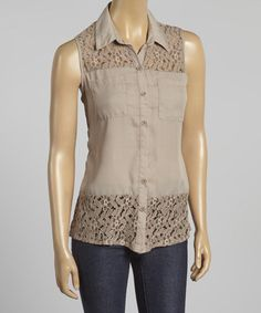 Love this Taupe Floral Lace Sleeveless Button-Up on #zulily! #zulilyfinds  $16.99 - Simply Irresistible