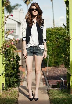 Shop this look on Kaleidoscope (sunglasses, jacket, top, shorts, watch, shoes)  http://kalei.do/W2llCgtN9Js0uh7k