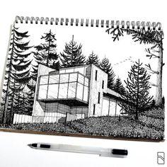 """278 Likes, 4 Comments - ABSV Dastan (@absvdsgn) on Instagram: """"Forrest house sketch. . _________________________________ · #sketch #sketchbook #sketchlove…"""""""
